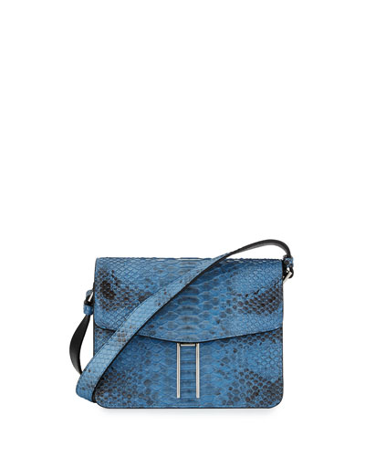 Matte Python Mini Crossbody Bag, Sky Blue