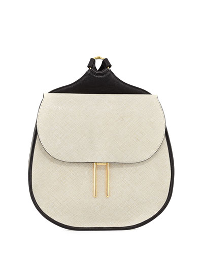 Vallens Saffiano Leather Backpack, White