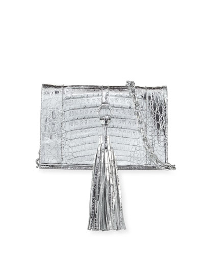 Small Tassel Crocodile Crossbody Bag, Silver