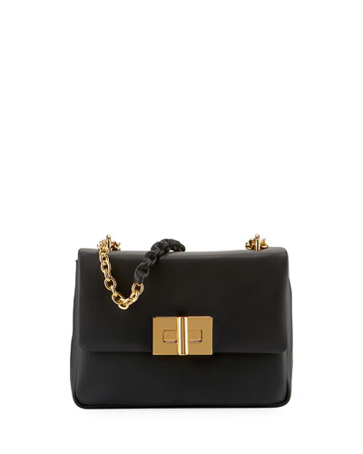 Flap-Top Leather Chain Shoulder Bag, Soft Black