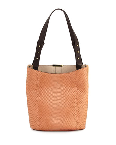 Panama Python Double Tote Bag, Salmon