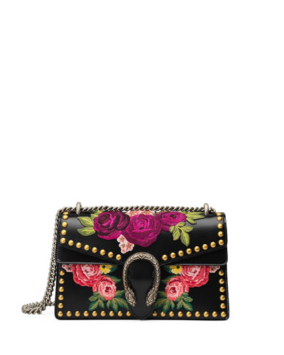 Dionysus Studded Floral-Embroidered Leather Chain Shoulder Bag, Black Pattern