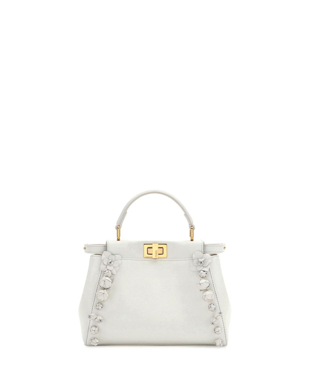 Mini Peekaboo Floral-Embellished Satchel Bag, White