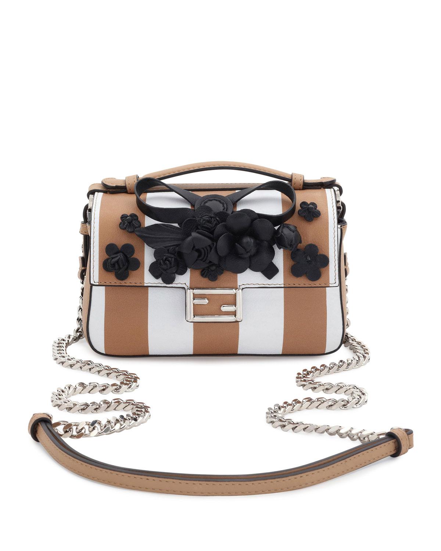 Double Micro Baguette Shoulder Bag, White/Black