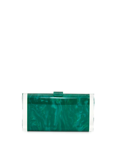 Lara Backlit Acrylic Clutch Bag, Green