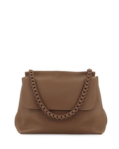 Braided Top Handle 14 Leather Flap-Top Shoulder Bag, Khaki