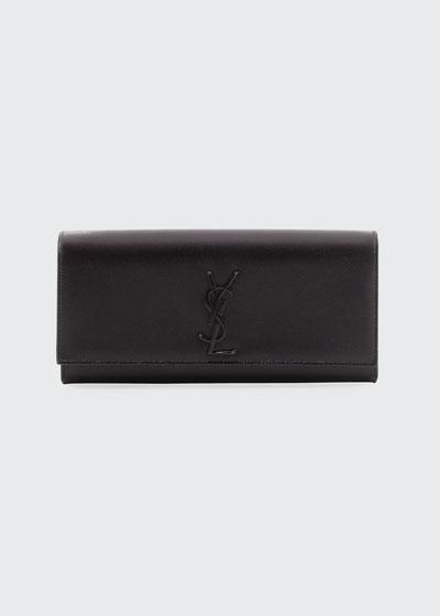 Monogram YSL Calfskin Clutch Bag, Black