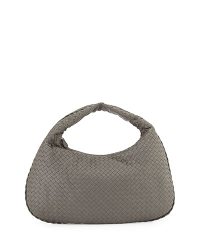 Veneta Intrecciato Large Hobo Bag, Gray