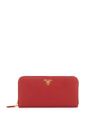 Saffiano Zip-Around Wallet, Red (Fuoco)