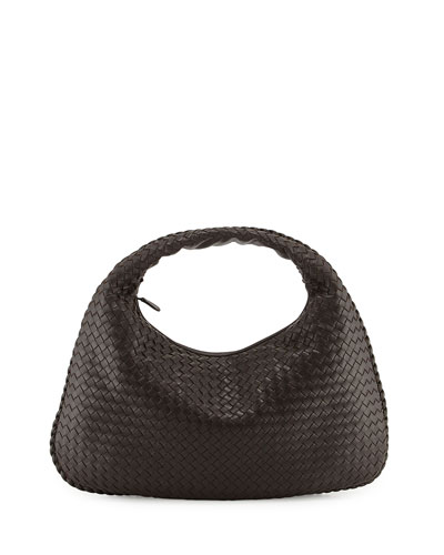 Intrecciato Woven Large Hobo Bag, Dark Brown