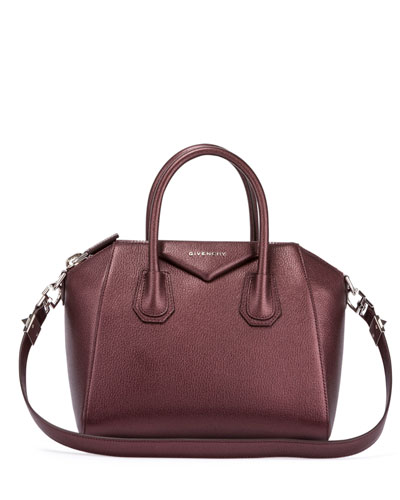 Antigona Small Sugar Goatskin Satchel Bag, Oxblood
