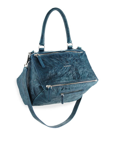 Pandora Medium Pepe Leather Shoulder Bag, Navy