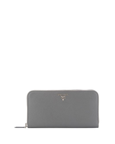 Saffiano Zip-Around Continental Wallet, Gray
