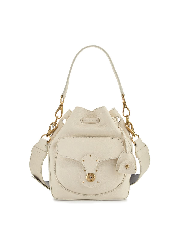 Small Drawstring Bucket Bag, White