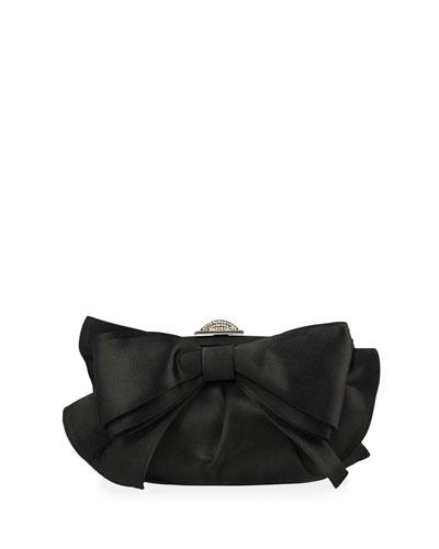 Madison Satin Bow Evening Clutch Bag, Black