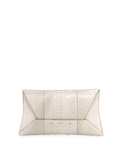 Manila Shiny Python Clutch Bag, Off White