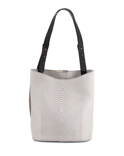 Panama Python Double Tote Bag, Gray
