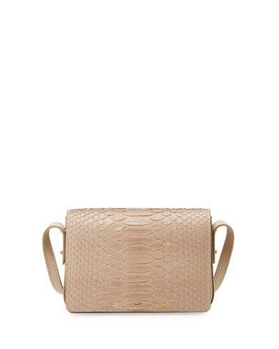 Pulce Matte Python Shoulder Bag, Off White
