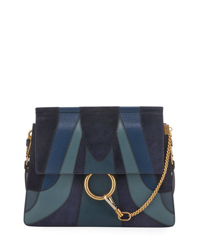 Faye Medium Patchwork Shoulder Bag, Blue