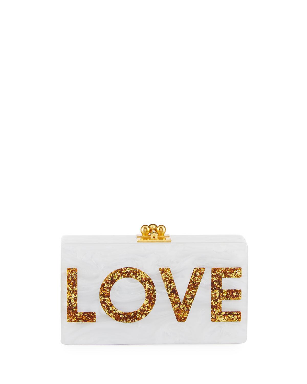 Jean Love Acrylic Clutch Bag, White Metallic