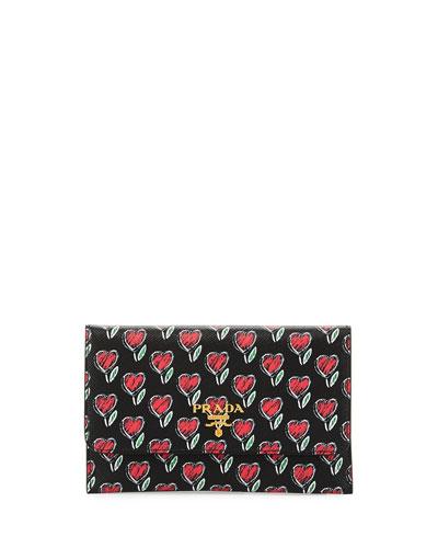 Heart-Print Saffiano Flap Wallet, Black
