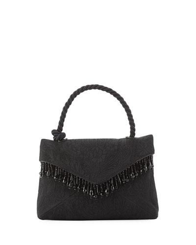 Beaded Brocade Top-Handle Bag, Black