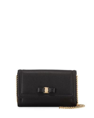 Vara Mini Saffiano Crossbody Bag, Black