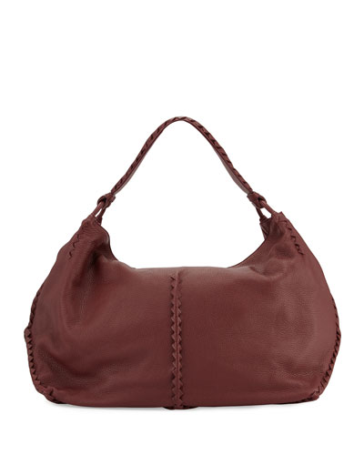 Cervo Large Leather Shoulder Bag, Bordeaux