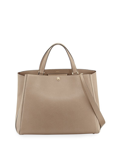 Triennale Large Soft Leather Tote Bag, Taupe