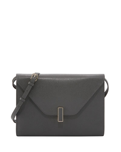 Iside Leather Tablet Shoulder Bag, Dark Gray