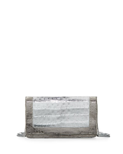 Small Crocodile Chain Shoulder Bag, Silver
