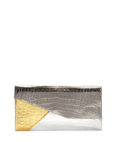 Colorblock Origami Crocodile Clutch Bag, Gray Pattern