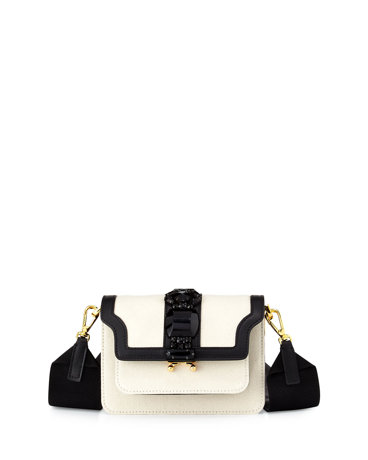 Colorblock Leather Trunk Bag, White