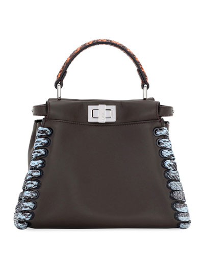 Peekaboo Medium Snakeskin Whipstitch Satchel Bag, Black/Multi