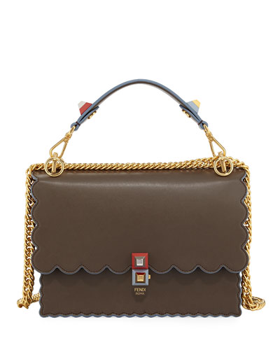 Kan I Scalloped Leather Top-Handle Bag
