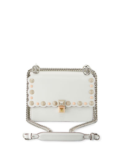 Kan I Mini Scalloped Studded Chain Shoulder Bag, White