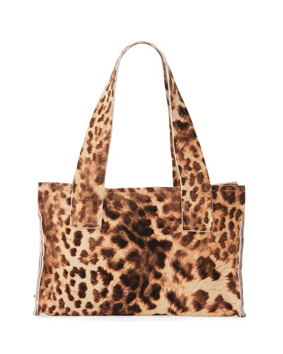 Caramel Leopard Print Handle Clutch Bag