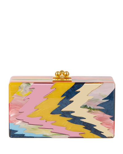 Jean Rippled Resin Clutch Bag, Pink
