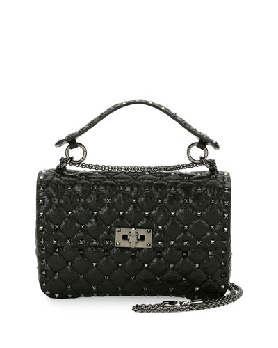 Rockstud Spike Medium Shoulder Bag, Black