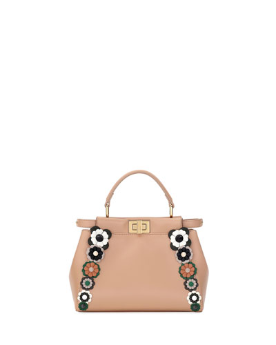 Flowerland Peek-A-Boo Mini Leather Satchel Bag