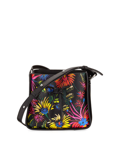 Soleil Mini Bucket Bag, Black Pattern