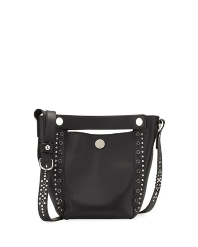 Dolly Small Studded Leather Tote Bag, Black