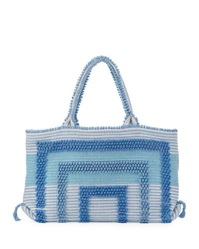 Martis Woven Cotton Tote Bag, Blue/Gray