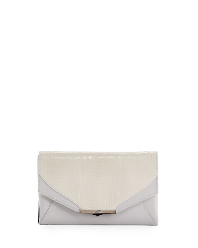 Roya Leather & Snakeskin Envelope Clutch Bag, White