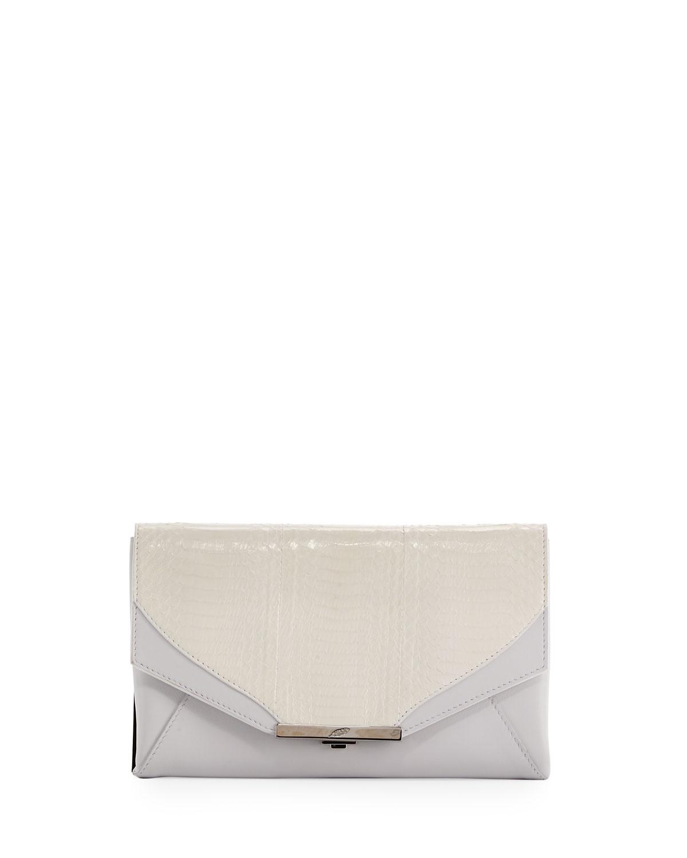 Roya Leather & Snakeskin Envelope Clutch Bag, White