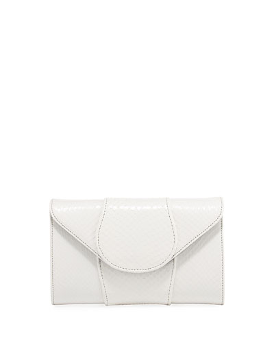Babo Watersnake Envelope Clutch Bag, White