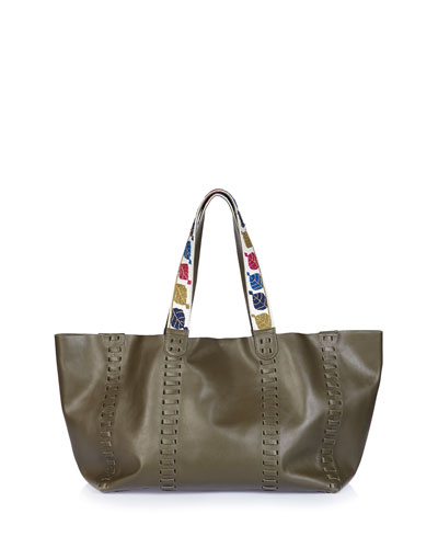 Ithaka Whipstitched Leather Tote Bag, Khaki