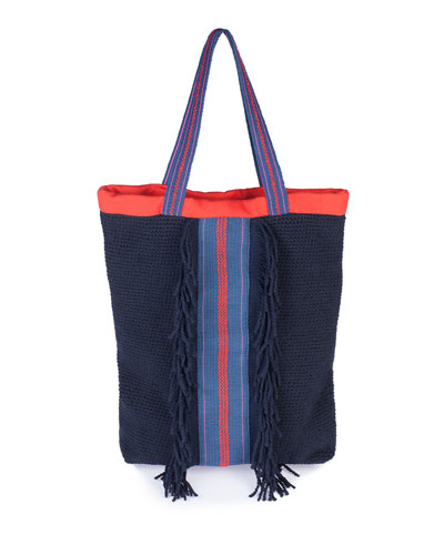 Thira Hand-Knotted Tote Bag, Blue