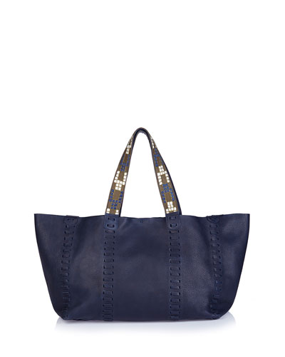 Ithaka Whipstitched Leather Tote Bag, Blue