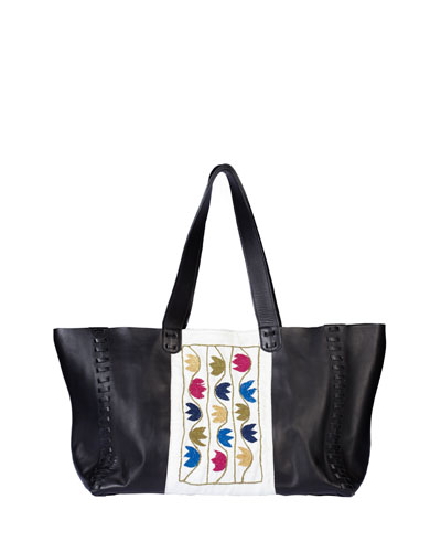 Ithaka Embroidered Leather Tote Bag, Black